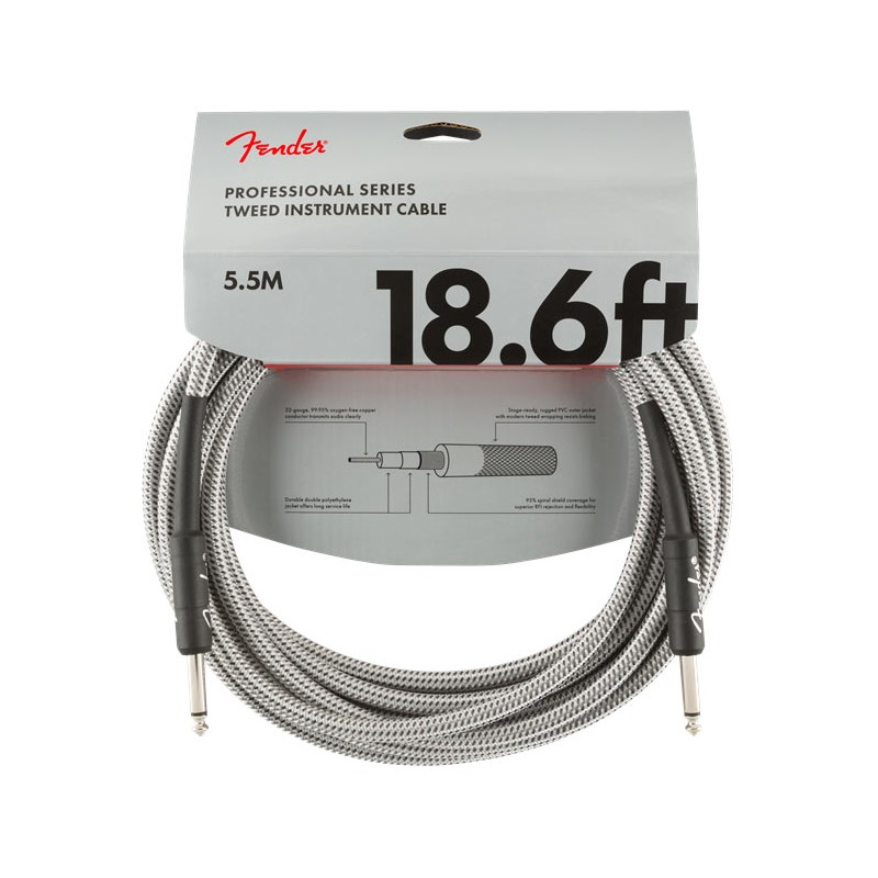 Fender Professional Series Instrument Cable 5,5m White Tweed