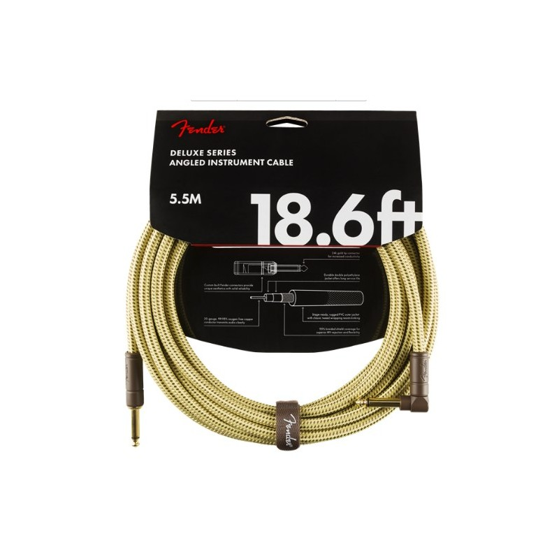 Fender Deluxe Series Instrument Cable Straight-Angle 5.5m Tweed